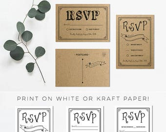 DIY Black RSVP Card Templates
