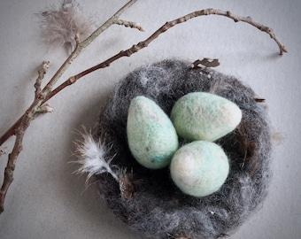 3 needle felted eggs by The Lady Moth - wild bird eggs - spring eggs decor - egg nest - blue grey eggs -  UK