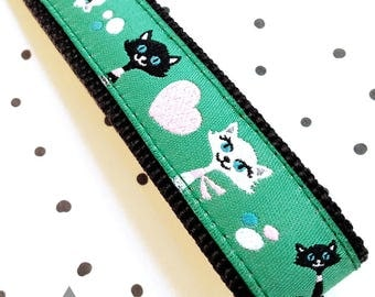 Slim Key Chain / Key Fob : Black & White Cats On Green Ribbon