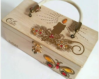 Vintage Rare Enid Collins Box Purse, Twilight by Enid Collins, Vitnage 1970s Box Purse, Wooden Box Purse,Butterflies and Candle Purse,Signed