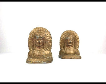 Original Native American Bookends 1940s Cast Native American Metal Bookends Vintage Gold Chipped Paint Bookends