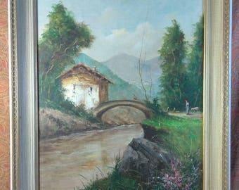 Old Vintage Italian Impressionist Landscape Oil Painting on Canvas Mario Molmar