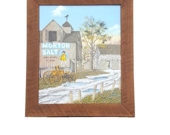 Morton Salt Farm Oil Painting ~ Framed Oil On Canvas Barn Morton's Salt Girl ~ Signed H. Hargrove/ 1989 Artistic Impressions