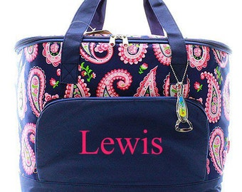 Personalized Paisley Cooler Bag  Monogrammed Cooler  Beach Cooler  Insulated Cooler  Cooler Tote Bag