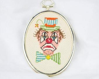 "Vintage ""Sad Clown"" Needlepoint Handmade Quirky"