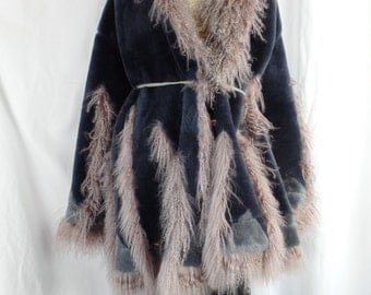 French made BOHO reversible shearling coat with mauve Afghan lamb trim/midnight blue to cement grey: size large- X large US woman