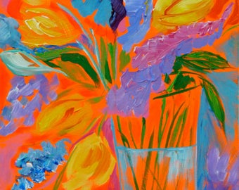 My cup runneth over etsy for Bright flower painting