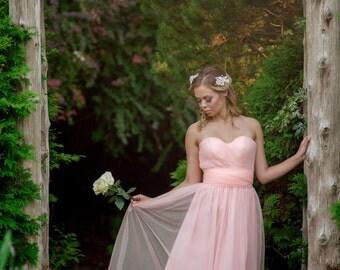 Convertible Bridesmaid Dress in Soft Tulle, Tulle Skirt, Custom Bridesmaid Dress