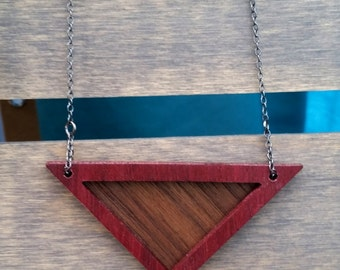 Triangle Necklace, Geometric Necklace, Wood Necklace, Minimalist Necklace, Modern Necklace