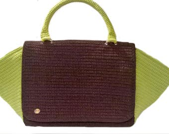 Handbag//lime green/brown cord/crochet//handmade bag//Made in Italy