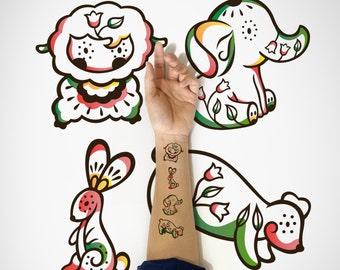 4 in 1 set - Kids Temporary Tattoo, Lamb, Elephant, Rabbit, Bear / Cute Animal Temporary Tattoo / Kawaii decorative Temporary Tattoo/ Tattoo