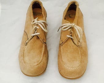 70s Platforms Leather Lace Up Loafers Rubber Mens Size 8.5 1/2 M by Buzzard Boots