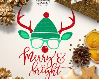 Merry and Bright SVG, Christmas svg, Reindeer svg, Rudolph svg, Reindeer Cut File, eps, dxf, png Cut Files for Silhouette for Cricut