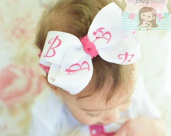 Monogram Girls Hair Bow Headband Letter Hot Pink White