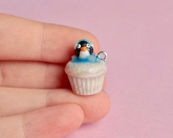 Snowy Penguin Cupcake Charm Polymer Clay