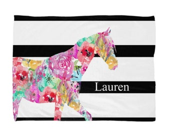 """Horse Blanket, Gifts for Horse Lover 50""""x60"""", 60""""x80"""", Watercolor Floral"""
