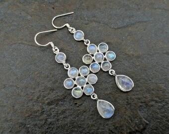Elegant Rainbow Moonstone Earrings, Moonstone Silver Earrings, Moonstone Jewelry, Flower Earrings, June Birthstone, Wedding Earrings