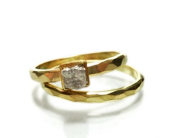 Wedding ring set of yellow gold 750 with rough diamond, gray uncut in 24 Kt. gold frame - handmade by SILVERLOUNGE