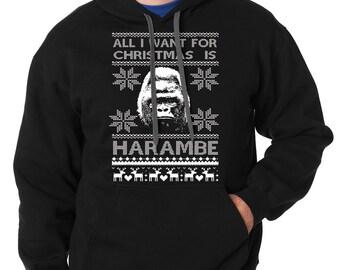 Ugly Christmas Sweater Harambe Hoodie Harambe Xmas Party Hooded Sweatshirt