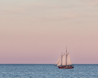 Red Witch Tall Ship on Lake Michigan at Golden Hour Kenosha Southeast WI Fine Art Photo Print by Rose Clearfield on Etsy