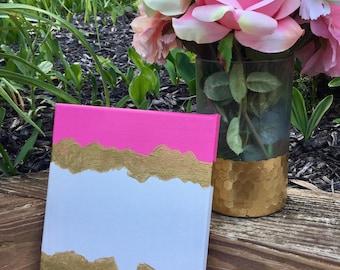Kate Spade Inspired Canvas Painting Black Pink White Gold Dorm Decor, Home Decor, Fashion Art, Stylish // 8x10