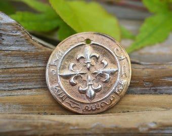 Fleur de Lis Astrology-  Handmade White Copper Pendant
