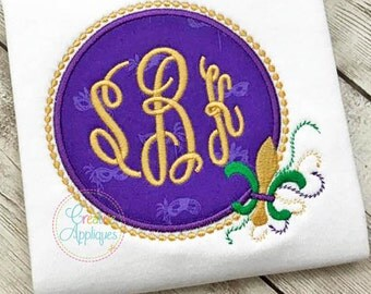 Mardi Gras Monogram Frame Applique Digital Machine Embroidery Design 4 Sizes, monogram frame applique, mardi gras applique, fleur de lis