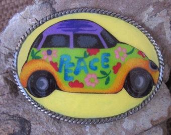 belt buckles peace sign vintage 70's vw beetle bug accessories retro yellow belt buckle hippie junk gypsies volkswagen Belt Buckle