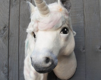 Evie the unicorn, needle felted wall sculpture