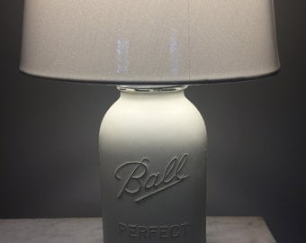 Chalk Painted Ball Jar Lamp