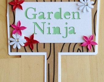 Gorgeous Handmade Garden Ninja Card with Felt Flowers and Crystals!