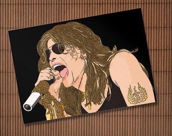 Steven Tyler Aerosmith cartoon print. 4x6 print