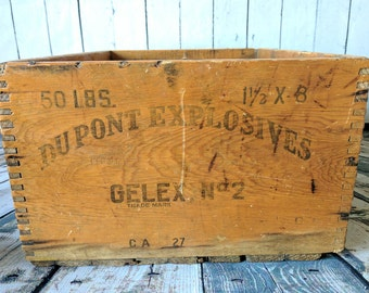 Vintage Dupont Box, Dupont Explosives Box, Old Wood Box, Dovetail Box, Vintage Box, Wood Box, Urban Decor, Industrial, Farmhouse