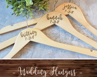 Personalized Wedding Hangers - Bridal Party Hangers - Bridal Hanger - Wedding Hanger - Bridesmaid Gift - Custom Engraved Hanger