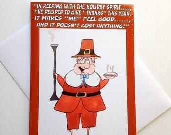 Funny Thanksgiving Card - Funny Pilgrim Card - Thanksgiving Card - Thanksgiving Holiday Card