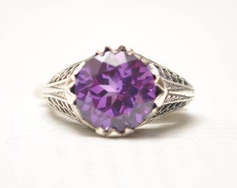 Sterling Silver Antique Style Victorian Alexandrite Ring Sz 7  #7939