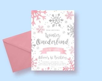 Winter Onederland Invitation, Winter Onederland Birthday, Girl Onederland Invitation, Winter Onederland, 1st Winter Birthday