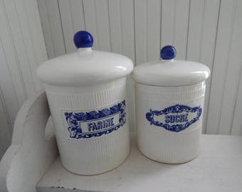 French Ceramic Canister Set With Blue Typography And Graphics   Sucre,  Farine Canisters   Navy