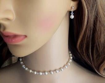 Small Swarovski pearl drop bridal earrings Sterling Silver studs crystal and pearl wedding earrings, white or cream pearl earrings jewellery
