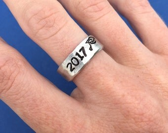Hand Stamped Ring, Class of 2017, Hammered Ring, Band Cuff Ring, Adjustable Ring, Graduation Gift, Class Ring, Grad Cap, For Him, For Her