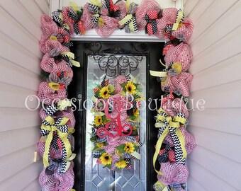Summer Wreath with door Garland, Sunflower wreath, Summer door swag, Door Hanger, Wreath and Garland, Front door Decoration
