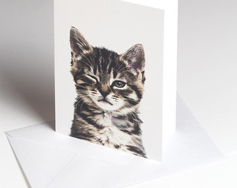 The Winking Kitten - Greetings card