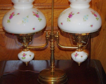 Vintage Brass GWTW Double Hurricane Glass Globes Student Oil Table Lamp w 2 Glass Chimney's and 2 Glass Fixtures, White w Flowers, 1970s
