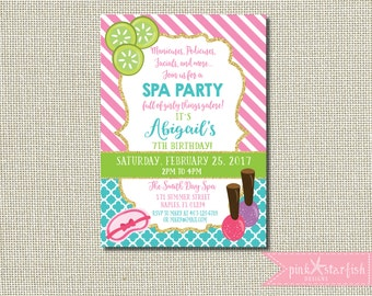 Spa Birthday Invitation, Spa Birthday, Spa Invitation, Girls Birthday, Girls Spa Invitation, Girls Day Out, Spa, Spa Days, Spa Invite, SPA