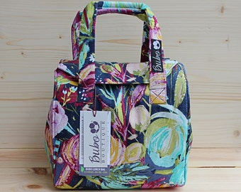 Insulated Lunch Bag, Bento Box Reusable lunch tote/carrier, waterproof lining, BPA Free, Food Friendly, purple, blue, flowers, washable