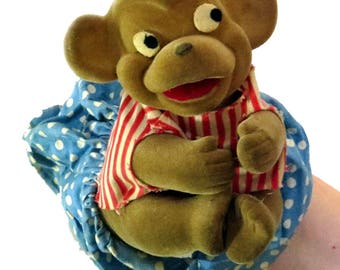 Vtg Knickerbocker Monkey Hand Puppet Play Pets Vinyl Body Cloth Skirt