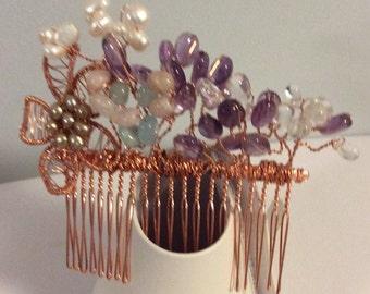 Bridal hair combAmethyst, beryl clear Quartz, pearl