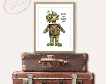 Best friend Gift, Boyfriend Gift, Mother and son gift,  Father and son gift, Sibling Gifts, Girlfriend Gift, Robots Art, Robin Davis Studio