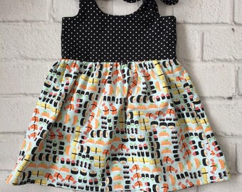 Sushi Baby Dress, Sushi Sun Dress, Foodie Baby Dress, Toddler Sushi Dress, Black Polka Dot Sushi Dress, Funny Baby Outfit, Chef Baby Dress