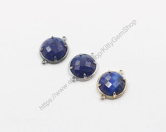 18mm Faceted Lapis Lazuli Connectors -- With Electroplated Gold Edge Charms Wholesale Supplies YHA-294-19